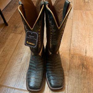 Ariat Caiman Alligator Gold Inlay Cowboy Boots